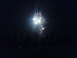 Feuerwerk über dem Columbia Lake