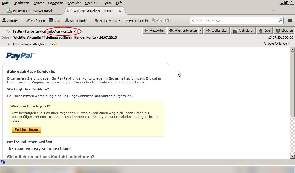 Falscher Absender bei der Phishing-Attacke auf meine PayPal-Benutzerdaten