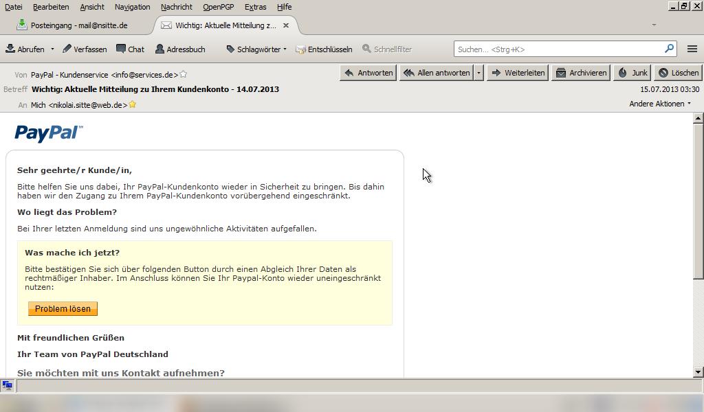 Versuch einer Phishing-Atacke auf meine Paypal-Benutzerdaten