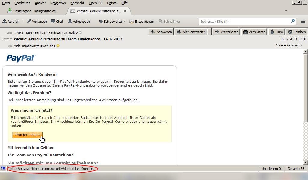 Falscher Link bei der Phishing-Attacke auf meine PayPal-Benutzerdaten