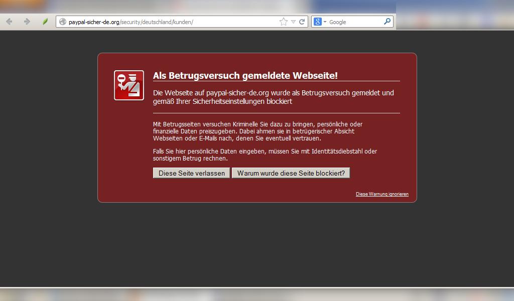 Firefox blockiert den Link bei der Phishing-Attacke auf meine PayPal-Benutzerdaten